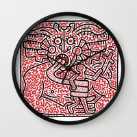 keith haring Wall Clocks featuring Keith Haring by cvrcak