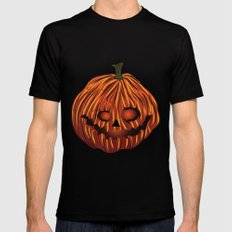 Scary Pumpkin Black Mens Fitted Tee MEDIUM