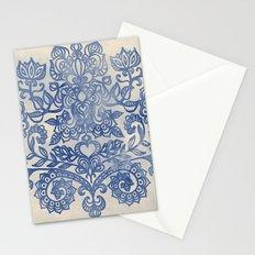 Indigo Blue Denim Ink Doodle Stationery Cards