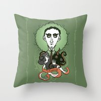 lovecraft Throw Pillows featuring Lovecraft Holy Writer by roberto lanznaster