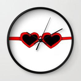 Red Heart Shaped Sunglasses Wall Clock