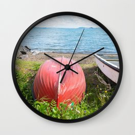 Beautiful blue lake and boats in Tuscany, Italy Wall Clock