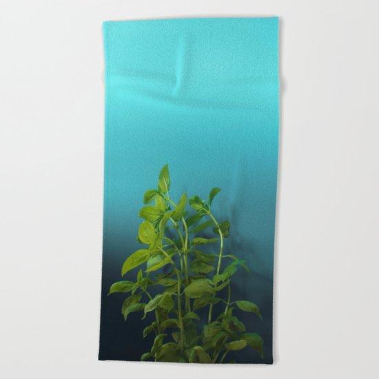 Shy and charming basil Beach Towel