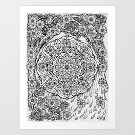 Cherry Blossoms Mandala by Kent Chua Art Print