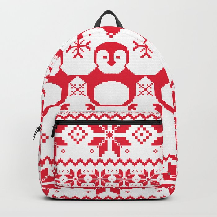 Red Scandinavian Penguin Holiday Design Backpack