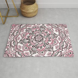 Magical Mandala in Monochrome + Pink Rug