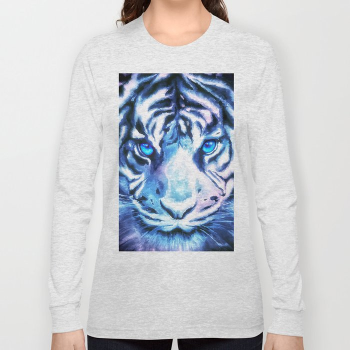 White Tiger | Snow Tiger | Tiger Face | Space Tiger Long Sleeve T-shirt by  madewithmoonlight