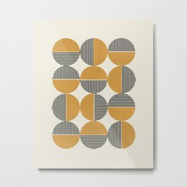 Circle pattern mid-century style Metal Print