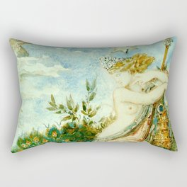 "Gustave Moreau ""The Peacock Complaining to Juno"" Rectangular Pillow"