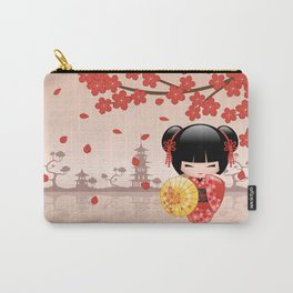 Japanese Red Sakura Kokeshi Doll Carry-All Pouch