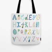 alphabet Tote Bags featuring Alphabet by Anto Del Vecchio