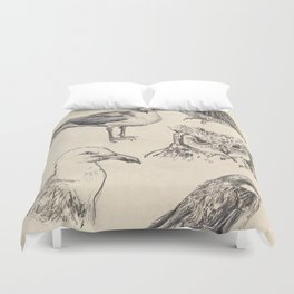 Bird vintage sketches Duvet Cover