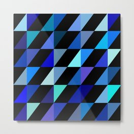 Geometric Pattern 14 (Blue Triangles) Metal Print
