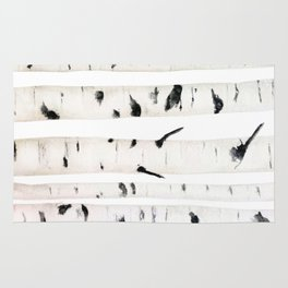 birch  watercolor Rug