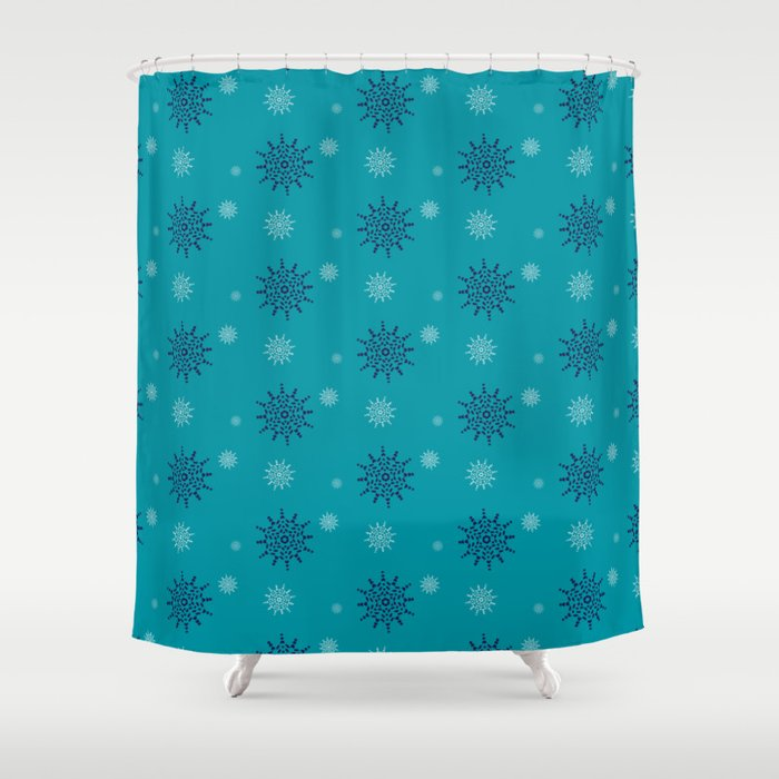 Blue and White Snowflakes Shower Curtain