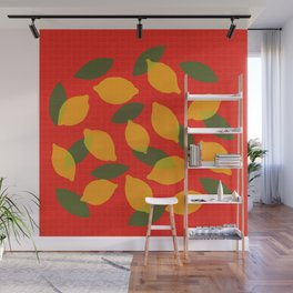 Lemons kitchen decor - mid century modern food art Wall Mural