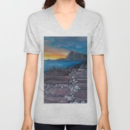 Sunset at Elgol Beach, Fantastic Modern Oil Painting on Canvas, Landscape by Luna Smith Unisex V-Neck