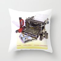 typewriter Throw Pillows featuring Typewriter by Nancy L. Hoffmann