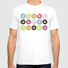Donuts White Mens Fitted Tee SMALL
