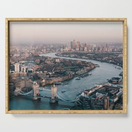 Aerial photography of London skyline during daytime Serving Tray