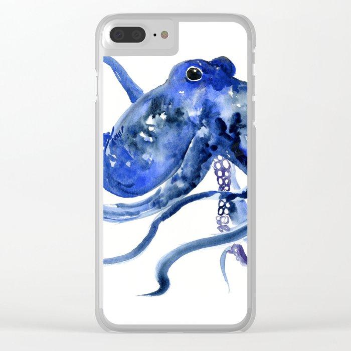 Octopus Design Blue Navy Blue Beach, cute ocotpus texture art Clear iPhone Case