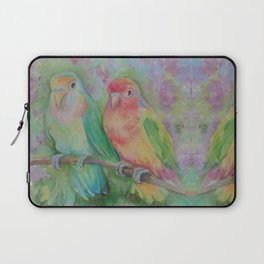 Lovebirds family Pastel colorful parrots Tropical jungle Wildlife birds painting Laptop Sleeve