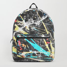 Abstract teal yellow paint splatters gray marble Backpack