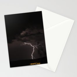 Lighting bolt during an obscure night Stationery Cards