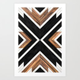 Urban Tribal Pattern No.1 - Concrete and Wood Art Print