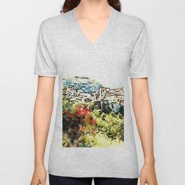 Tortora view with red flower Unisex V-Neck