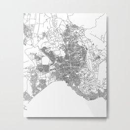 Street MAP Antalya // Black&White Metal Print