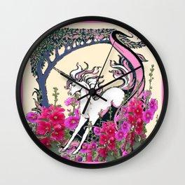 Prancing Unicorn in Pink Flowers Glade Fantasy Art Wall Clock