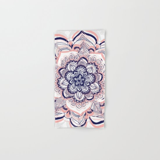 Woven Dream - Pink, Navy & White Mandala Hand & Bath Towel