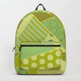 Graphic Leaf Patchwork (Spring Green Bold Colors) Backpack