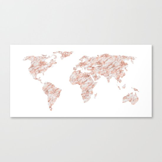 World Map Rose Gold Marble Canvas Print