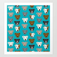 Pitbull faces dog art dog pattern pitbulls cute gifts for rescue dog owners Art Print