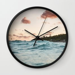 Waves at the sunset Wall Clock