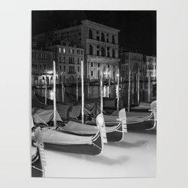 Gondolas in the night Venice Italy black and white Poster