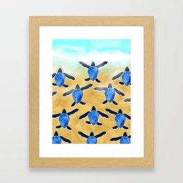 Leatherback sea turtle - Blue sapphire Framed Art Print