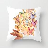 eevee Throw Pillows featuring Eevee Used Swift by Katy Farina