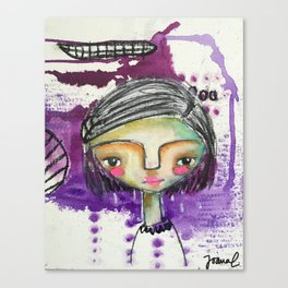 Girl in Purple Canvas Print
