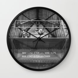 Gantry crane in black and white Wall Clock