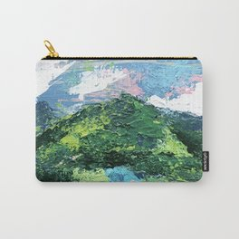 Gunnison: a vibrant acrylic mountain landscape in greens, blues, and a splash of pink Carry-All Pouch