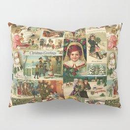 Vintage Victorian Christmas Collage Pillow Sham