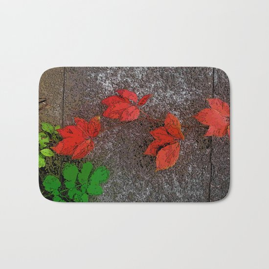 Red and green leaves on the wall Bath Mat