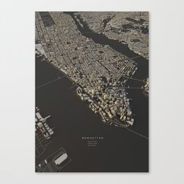 Manhattan city map Canvas Print