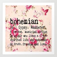 bohemian Art Prints featuring Bohemian by Luxe Glam Decor