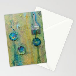 Green Artist Brushes Stationery Cards