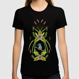 Common Kingfisher, Water Lilies, Dragonflies & Cattails Pattern T-shirt