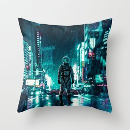 Another Rainy Night ( The Continuous Tale Of The Lost Astronauta) Throw Pillow